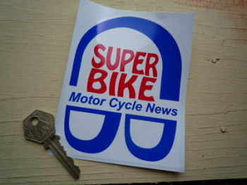 "Super Bike Motor Cycle News Groovy Stickers. 4"" Pair."