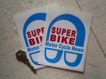 "Super Bike Motor Cycle News Stickers. 3.5"" Pair."