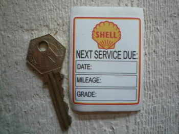 "Shell 'Next Service Due' Service Sticker. 2.25""."