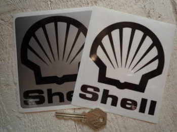 "Shell Black & Clear/Silver Stickers. 4"" Pair."