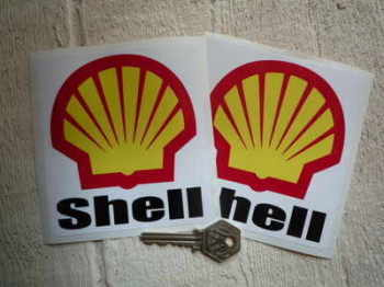 "Shell F1 Rounded Text & Logo Stickers. 4"" Pair."