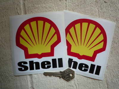 Shell F1 Rounded Text & Logo Stickers. 4