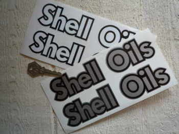 """Shell Oils Black & Silver/White Shaped Stickers. 7.5"""" Pair."""