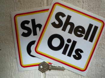 """Shell Oils Type B Rally Square Stickers. 5.5"""" Pair."""