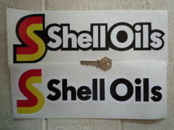 """Shell Oils Shaped Stickers. 12"""" Pair."""