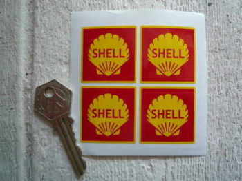 Shell Red Square Stickers. Set of 4. 35mm.