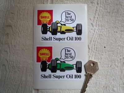 Shell Super Oil 100 Stickers. 3.5