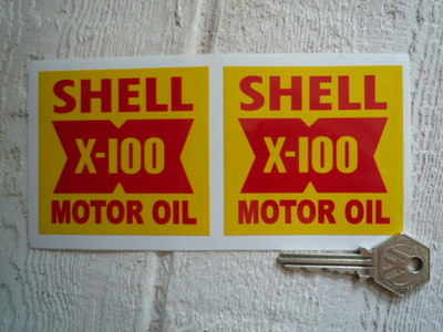 Shell X-100 Motor Oil Stickers. 3