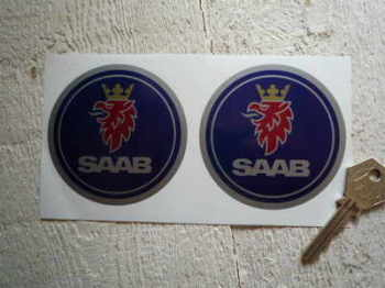 "Saab Circular Logo Stickers. 3"" Pair."