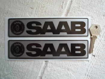 "Saab Silver & Black Oblong Sickers. 7"" Pair."
