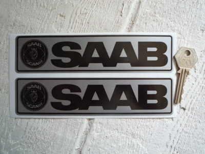 "Saab Silver & Black Oblong Sickers. 7"" Pair."