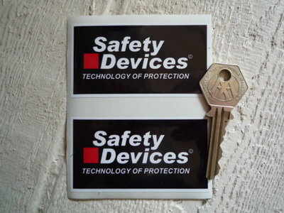 """Safety Devices 'Technology of Protection' Stickers. 3"""" Pair."""