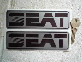 "Seat Black & Silver Oblong Stickers. 6.25"" Pair."