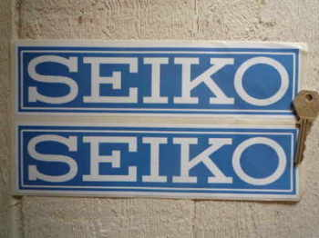 "Seiko White on Blue Coach-line Oblong Stickers. 8"" or 9.5"" Pair."