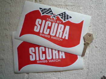 "Sicura Swiss Watch Sponsors Stickers. 6.25"" Pair."