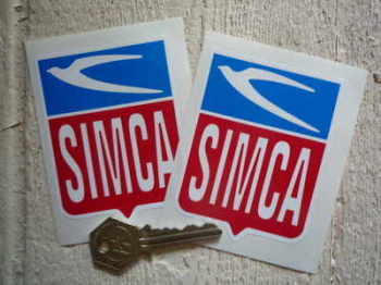 "Simca Shield Stickers. 2.5"" Pair."