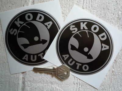 "Skoda Auto Black & Silver Circular Logo Stickers. 4"" Pair."