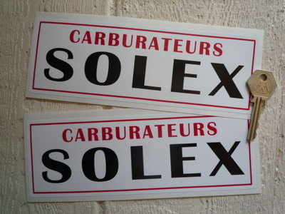 Solex Carburetors Red, White & Black Oblong Stickers. 8