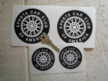"SCCA Wheel Stickers. 2.5"", 4"" or 5"" Pair."
