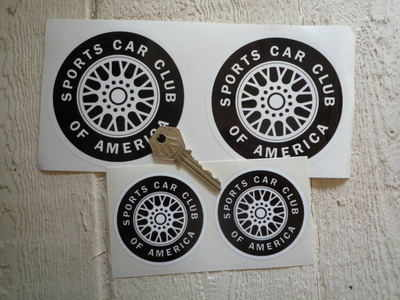 """SCCA Wheel Stickers. 2.5"""", 4"""" or 5"""" Pair."""