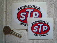 "STP Bonneville Nationals Oval Stickers. 3"" or 4"" Pair."
