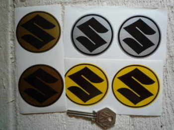 "Suzuki Circular S Stickers. 2.25"" Pair."