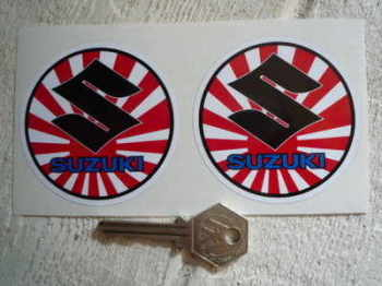 "Suzuki Circular S, Text, Japanese Flag, Stickers. 2.75"" Pair."