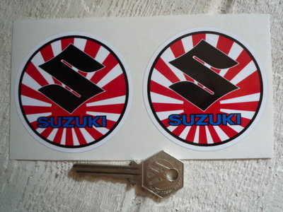 Suzuki Circular S, Text, Japanese Flag, Stickers. 2.75