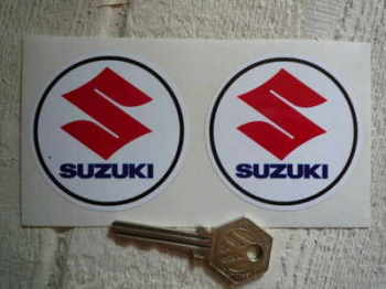 "Suzuki Circular Text & S Stickers. 2.5"" Pair."