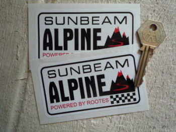 "Sunbeam Alpine  'Powered by Rootes' Stickers. 3.75"" Pair."