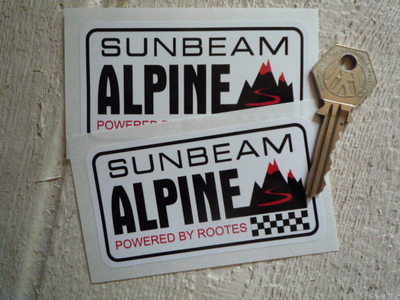 Sunbeam Alpine  'Powered by Rootes' Stickers. 3.75