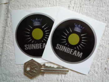 "Sunbeam Circular 'Sun' Stickers. 2.5"" Pair."