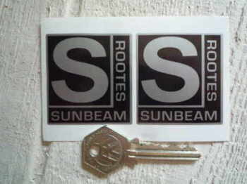 "Sunbeam Rootes Black & Silver Stickers. 2"" Pair."