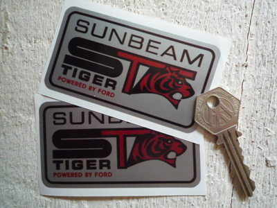 Sunbeam ST Tiger 'Powered by Ford' Silver Stickers. 3.75