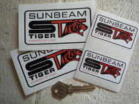 """Sunbeam ST Tiger 'Powered by' White Stickers. 4"""" or 2.5"""" Pair."""