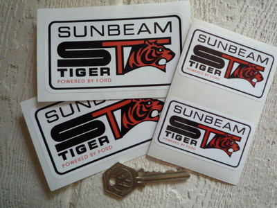 Sunbeam ST Tiger 'Powered by Ford' White Stickers. 4