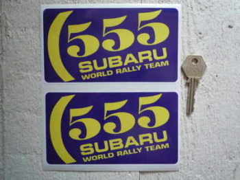 "Subaru 555 World  Rally Team Stickers. 5.75"" Pair."