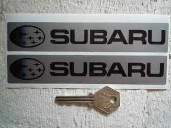 "Subaru Silver & Black Oblong Stickers. 6"" Pair."