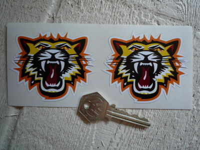 "Growling Tiger Face Stickers. 3"" Pair."