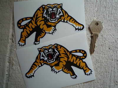 "Handed Leaping Tiger Stickers. 5"" Pair."
