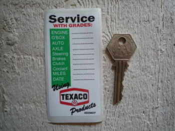 "Texaco 'Service with Grades' Service Sticker. 3.75""."
