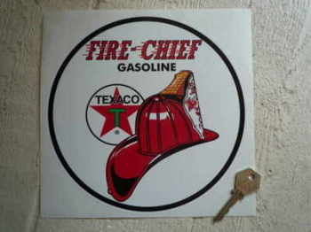 "Texaco Fire Chief Circular Sticker. 8""."