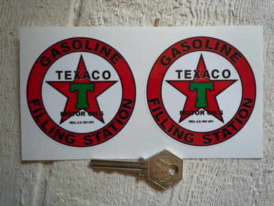 "Texaco Gasoline Filling Station Circular Stickers. 3"" Pair."
