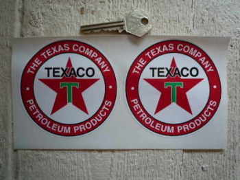 "Texaco Petroleum Products Circular Stickers. 3"" or 3.5"" Pair."
