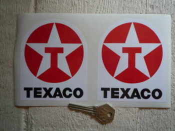 "Texaco Star & Text Shaped Stickers. 3.5"" Pair."