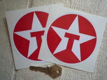 "Texaco Star Logo Circular Stickers. 2"", 3"", 4"" or 6"" Pair."