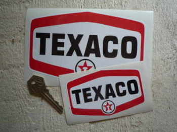 "Texaco Star'd Text Logo Stickers. 4"" or 6"" Pairs."