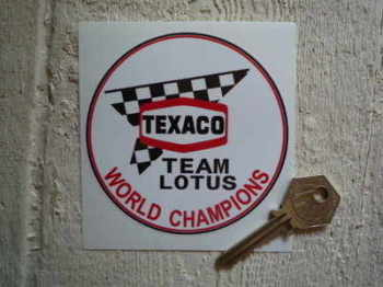 "Texaco Team Lotus World Champions Stickers. 3.75"" Pair."