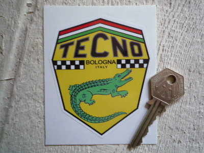 "Tecno Bologna Italy Shield Sticker. 3""."