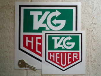 "Tag Heuer Full Colour Stickers. 1"", 3"", 4"", 5"" or 8"" Pair."